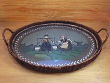 Vintage Dutch Boy And Girl Water Carriers Wicker Serving Tray w/ Handles