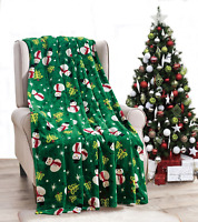 NEW Ultra Cozy & Soft Christmas Holiday Green Snowman Plush Warm Throw Blanket