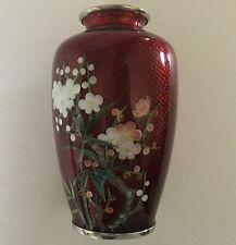 "Vintage NEKKA Red Ginbari CLOISONNE Vase 5"" Blossoms Silver Wire JAPAN ExC"