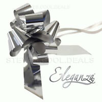 Silver Metallic Florist Pull Bows Waterproof Ribbon Gift Wrapping Wedding Car