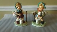 VINTAGE SET OF HUMMEL STYLE BOY AND GIRL WITH BUNNIES AND FLOWERS  FIGURINES