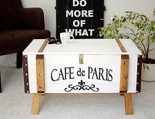 Shabby Chic Vintage Frachtkiste Holzkiste Truhe Couchtisch Paris Coffeetable