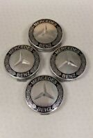 4x Mercedes Benz Alloy Wheel Centre Caps 75mm Badges BLACK WHEAT Hub Emblem