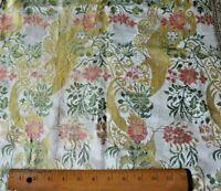 Antique French Or Italian Silk Brocade~Metallic Trim Ecclesiastical Fabric Cloth