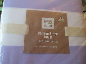 Pottery Barn Teen Cottage Stripe  Full Queen duvet lavender 1 standard sham New
