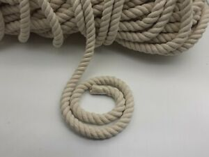 Natural Cotton Rope 2mm - 20mm / 3 Strand Twisted Sash Cord Twine Macrame Decor
