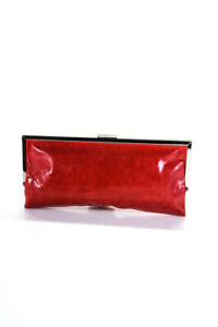 Hobo Womens Leather Frame Clutch Handbag Red Silver Tone