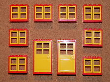 LEGO windows and doors for house (pack of 10) 2x4x3 red yellow BRAND NEW