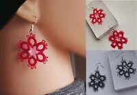 Flowe Earrings, handmade, Tatted lace, jewelry, Frivolite, tatting lace, silver