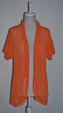 CHICO'S Elliptical Orange DEIORE Open Knit Cardigan Sweater Chico's Size 3 (16)