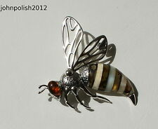 Delightful Baltic Amber Wasp Brooch on Silver 925