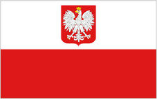 POLAND EAGLE FLAG 5' x 3' Polish State Crest Flags Europe
