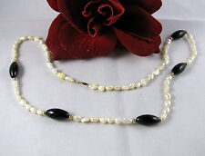 14k Clasp Fresh Water Pearl & Onyx Beaded Necklace  FERAL CAT RESCUE