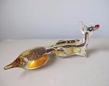 """Mid Century Venetian Murano Art Glass Fox Figurine Aventurine Gold Flecks 11"""""""