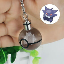 3D Led Crystal Ball Pokemon Pokeball Gengar Night Light Key Ring Creative Gift