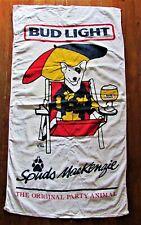 Vtg 80's Spuds Mackenzie Bull Terrier Bud Light Beach Towel Anheuser Busch
