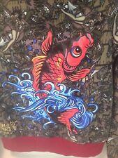 Christian Audigier Zip Hoodie Jacket Embellished Koi Fish Lined, Ed Hardy Sz L