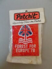 Nottingham Forest,Forest For Europe`78 Sew On Patch, In Original Packaging 1978