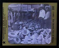 Mexico City, Hat Market, - Antique Magic Lantern Glass Slide
