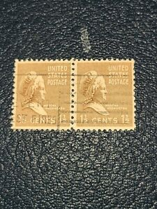 Sc#805 US Stamp 1938 1 1/2c Martha Washington Used Prexie Pair  -#2763