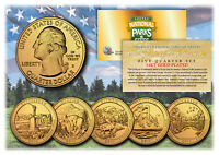 2011 America The Beautiful 24K GOLD PLATED Quarters Parks 5-Coin Set w/Capsules