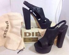 NEW DIESEL Ankle Strap Heels Women's Shoes Size 7 1/2 Black Leather OpenToe $225
