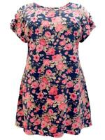 IVANS DARK NAVY/PINK/MULTI FLORAL COTTON/MODAL SHREDDED TUNIC TOP - SIZE 22/24