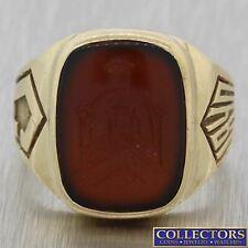 1940s Antique Art Deco 10k Yellow Gold Intaglio Carnelian Signet Ring Y8