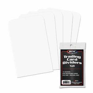 New (50 ct) BCW TALL Trading Card Dividers for Storage Boxes