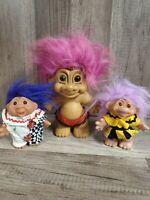 "Vintage Lot of 3 Troll Dolls 7""4""and 4"" Russ/Dam 1986"