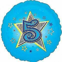 Age Five Blue Foil Balloon 18''