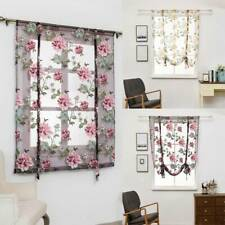 Pastoral Floral Voile Window Drawstring Curtain Sheer Panel Drapes Curtain Z