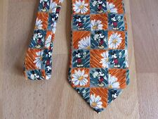 MICKEY Mouse with FLOWERS Novelty Cartoon Character SILK Tie by Disney Tie Rack