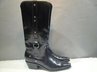 WOMENS 7 B LUCCHESE CHARLIE HORSE BLACK LEATHER TALL WESTERN COWBOY RIDING BOOTS