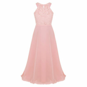 Flower Girls Dress Chiffon Floral Lace Bridesmaid Wedding Pageant Formal Gowns