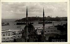 Istanbul Türkei ~1940 Hafen Partie Schiff Saray Burnu Blick auf Moschee und Meer