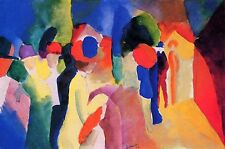 Woman with a Yellow Jacket - August Macke 9x12 on mono deluxe Needlepoint Canvas