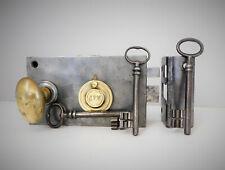 """Ancienne Serrure de Porte """" J.P.M. """" , 3 Clés ,Gâche, Poignée Olive Laiton,Lock"""