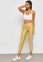 NEW Nike Power Speed Womens 7/8 Metallic Fancy Gold Running Tights Size S $80