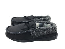 Mens Suede Shearling Moccasin Slippers Moc Toe Slip On Shoes Size 8 Black