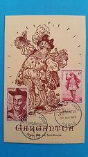 FRANCE CARTE MAXIMUM YVERT 866 + 943 GARGANTUA RABELAIS 12F PARIS 1953 L 435