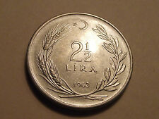 #1216 Turkey; 2 1/2 Lira 1963