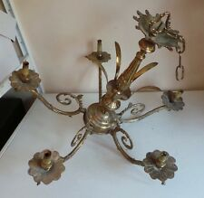 Large French Style Gold Brass 5 Arm Chandelier Candelabra Hanging Light Fixture