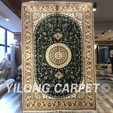Yilong 4'x6' Green Handmade Carpet Oriental Hand Knotted Silk Area Rug W239C