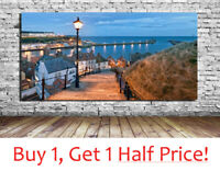 WHITBY YORKSHIRE Wall Art Canvas Print : Fishing Village Holiday Picture Night