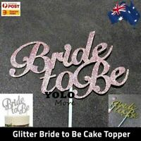 Bride to Be Glitter Paper Cake Topper Engagement Hens Bridal Shower Cake AUS