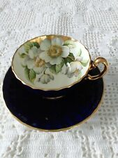 Aynsley TeaCup and Saucer -Cobalt Blue with Dogwood Flowers