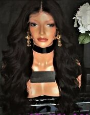 "24"" 8A #1b Malaysian Body Wave 180% Density Silk Top Full Lace Wig"