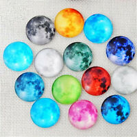 50pcs Fluorescence Moon Pattern Glass Flatback Cabs Decor Ornament DIY 8-15 MM