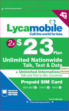 Lycamobile $23 Plan Preloaded Two 2 Months 3in1 Unlimited Talk Data Text 1GB 4G